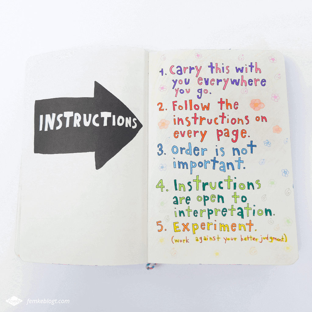 Wreck my journal | Instructions page