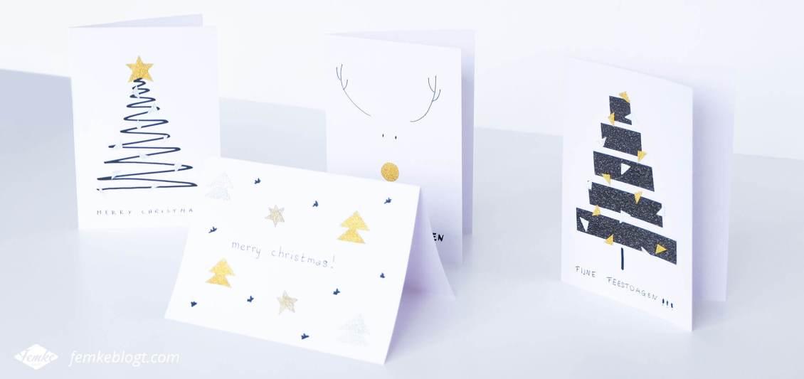 DIY kerstkaarten met glitter washi tape | Deze simpele kerstkaarten maak je eenvoudig zelf met wit papier, een zwarte stift en glitter washi tape!