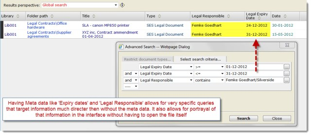 Having Meta data like 'Expiry dates' and 'Legal Responsible' allows for very specific queries that target information much directer then without the meta data. It also allows for portrayal of that information in the interface without having to open the file itself