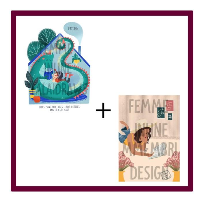 C) Pack Dues Il·lustracions virtuals amb missatge de St Jordi