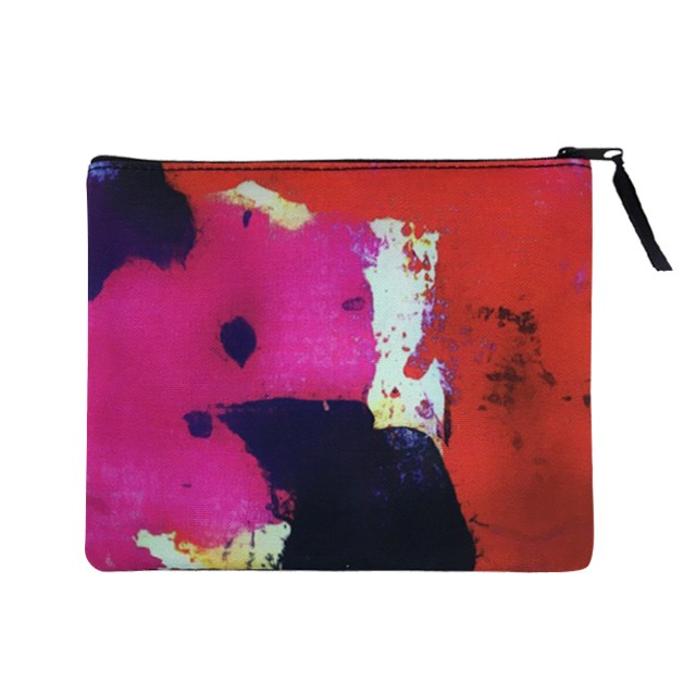 Custom Made Full Color Sublimated Cosmetic Bag Flat Pouch with Ribbon Zipper Private label