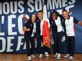 Sandrine Martinet, Stéphane Houdet, Clarisse Agbegnenou et Samir Aït Said - Porte-drapeaux Tokyo 2020 - Jeux Olympiques - Jeux Paralympiques - Sport féminin - Femmes de Sport