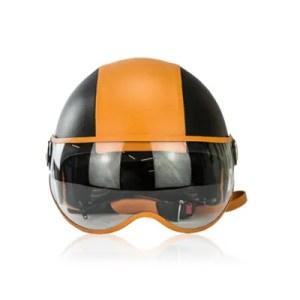 Albertario – Casco Moto Jet In Pelle M Orange Nero