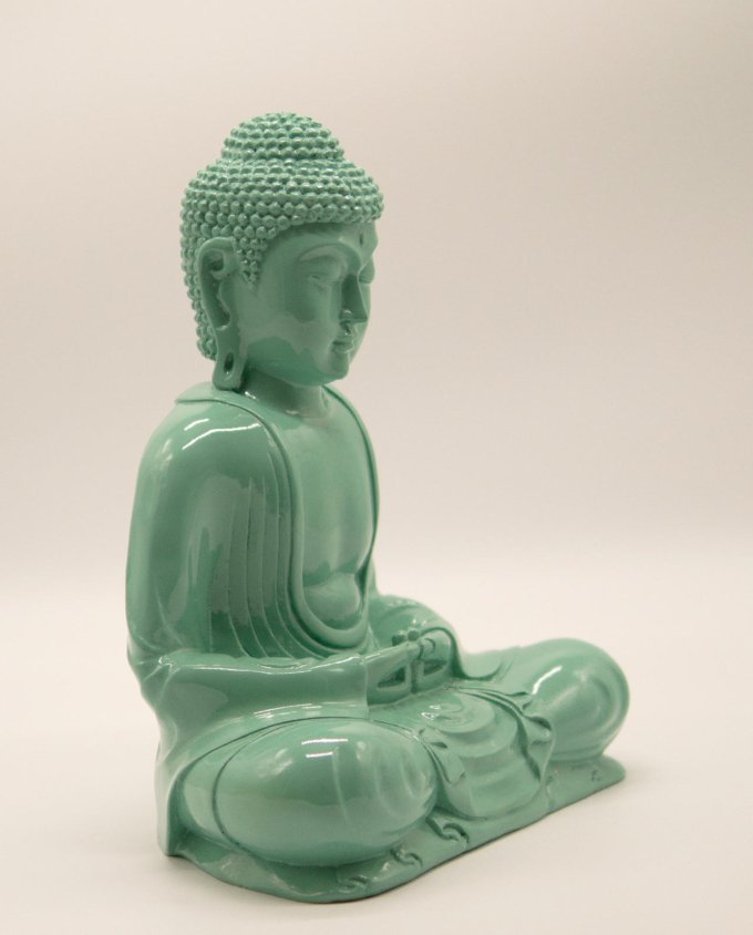 Buddha resin turquoise sitting in meditation posture, height 30 cm