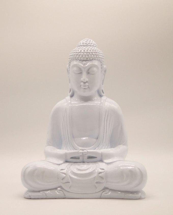 Βούδας ρητίνη ύψος 30 cm άσπρος