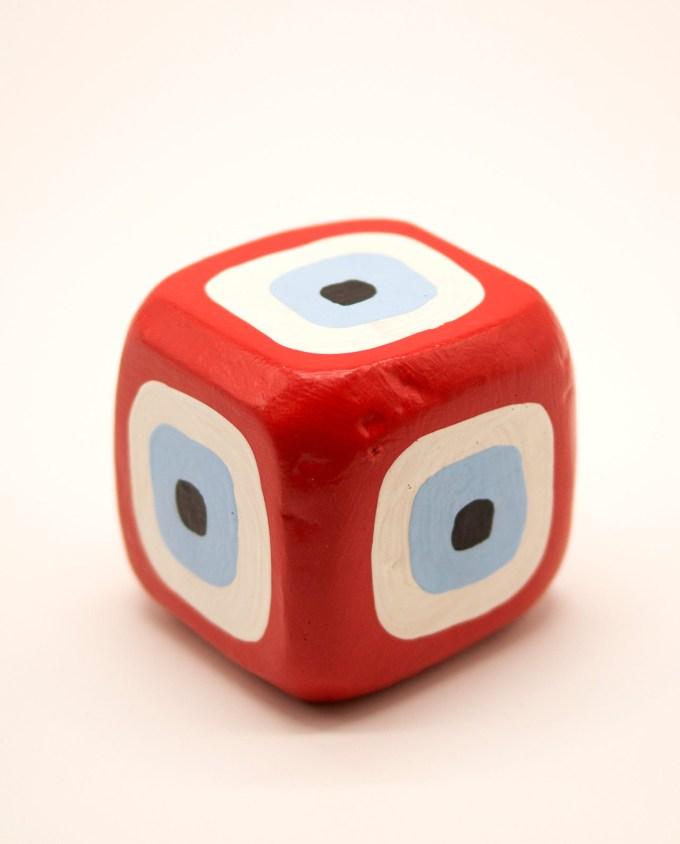 Κύβος ματάκι ξύλινος χειροποίητος 8.5 cm x 8.5 cm x 8.5 cm κόκκινος