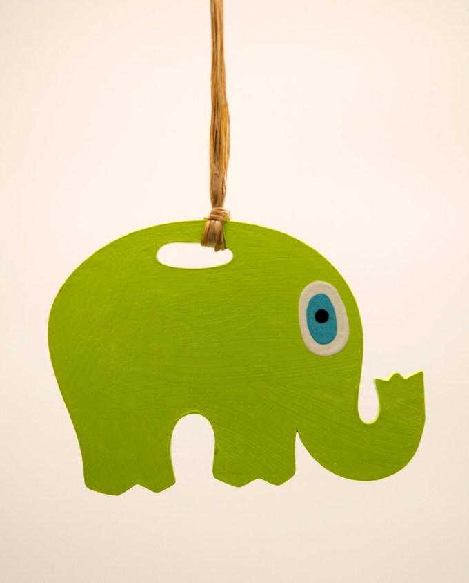 Ελέφαντας ματάκι ξύλινος χειροποίητος μήκος 18 cm πράσινος