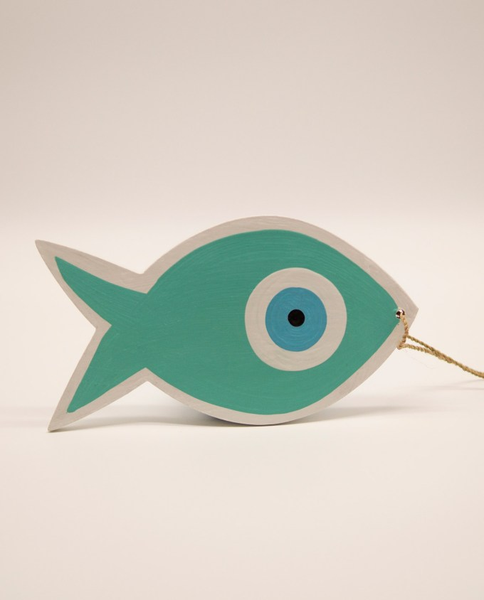 Ψάρι ματάκι ξύλινο χειροποίητο μήκος 18 cm τιρκουαζ