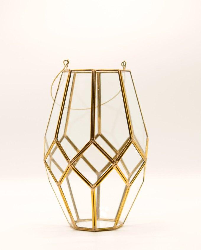 """Φανάρι """"Μαρόκο"""" χαλκός & γυαλί χειροποίητο ύψος 29 cm"""