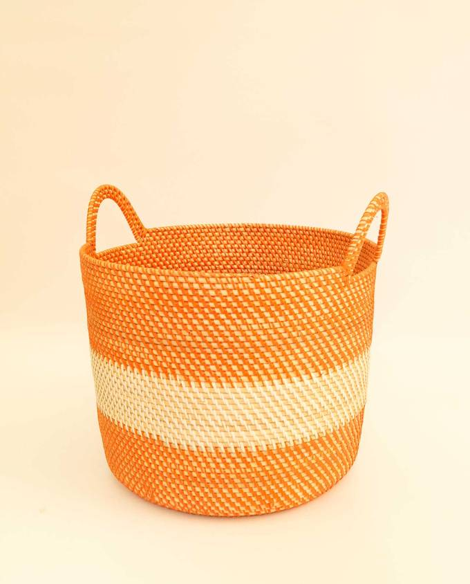 Καλάθι ραττάν άσπρο & πορτοκαλί ύψους 24 cm