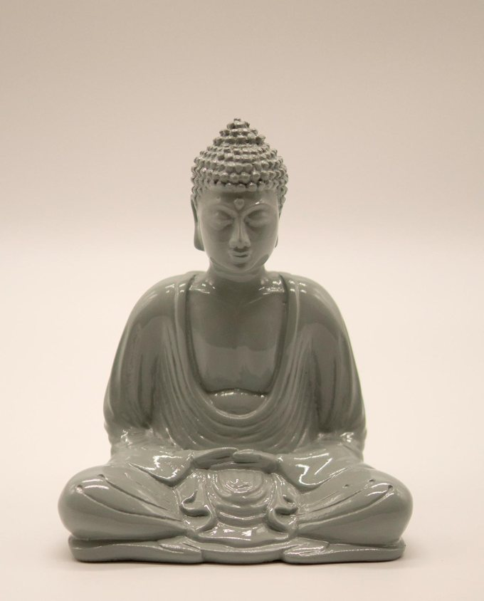Βούδας ρητίνη ύψους 15 cm σε στάση διαλογισμού γκρι