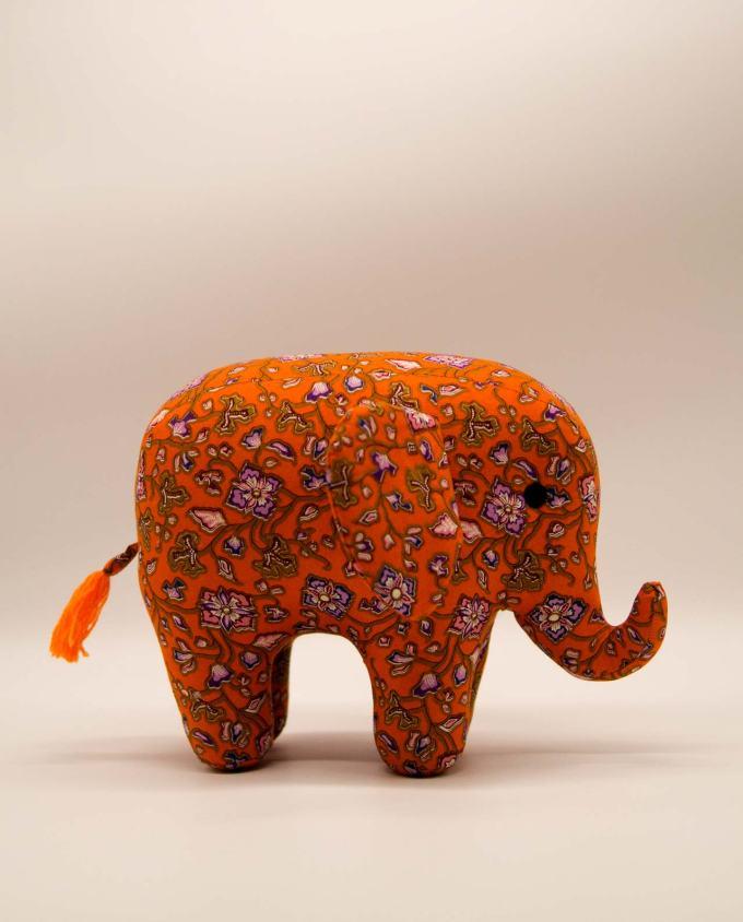 Ελέφαντας μπατικ υφασμάτινος χειροποίητος μεγάλος πορτοκαλί
