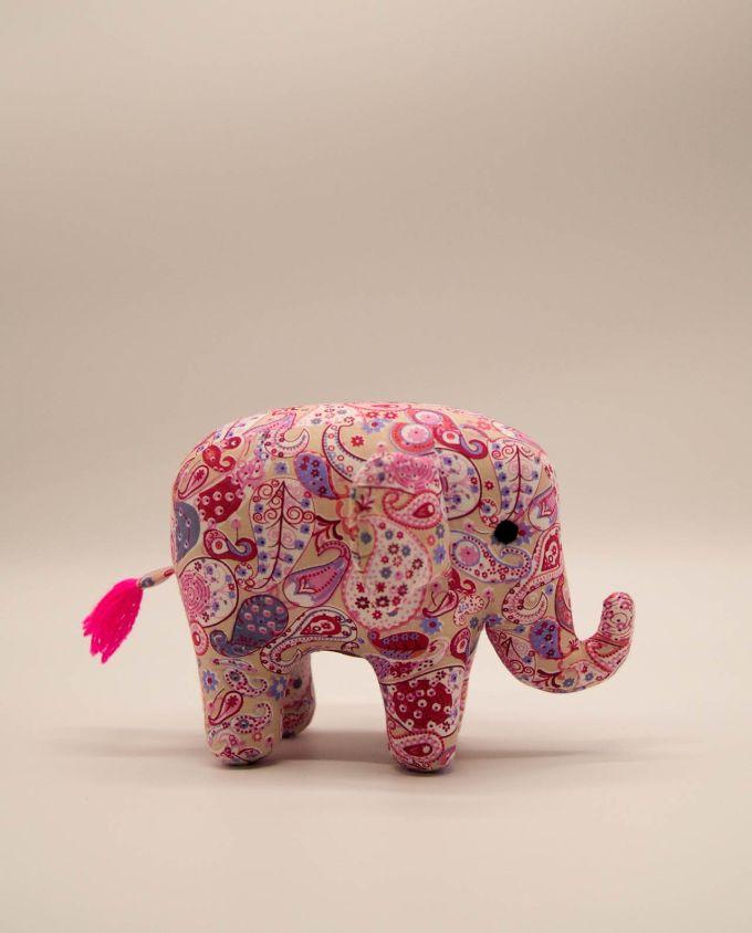 Ελέφαντας υφασμάτινος μπατικ χειροποίητος μεσαίο μέγεθος ροζ