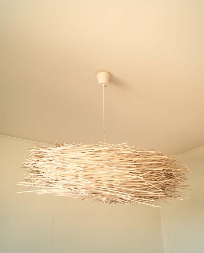 Lamp rattan white handmade diameter 85 cm