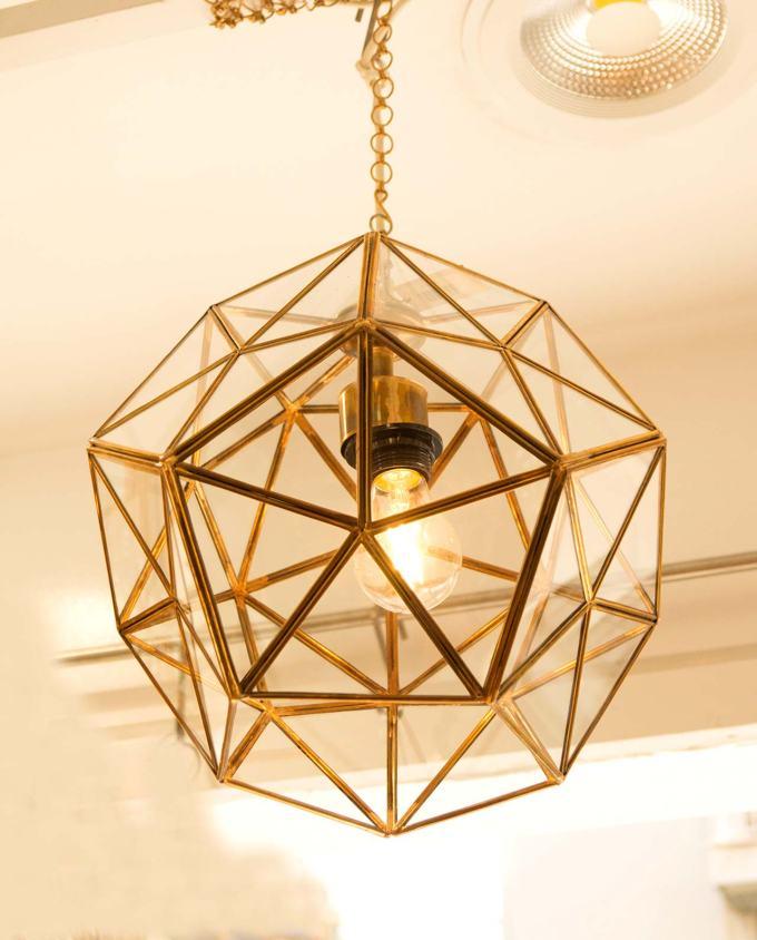Φωτιστικό οροφής μπρουτζος χρυσός & γυαλί διαμέτρου 30 cm