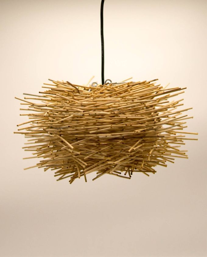 """Φωτιστικό οροφής Ραττάν """"Αχινός"""" διαμέτρου 30 cm χρώμα φυσικό"""