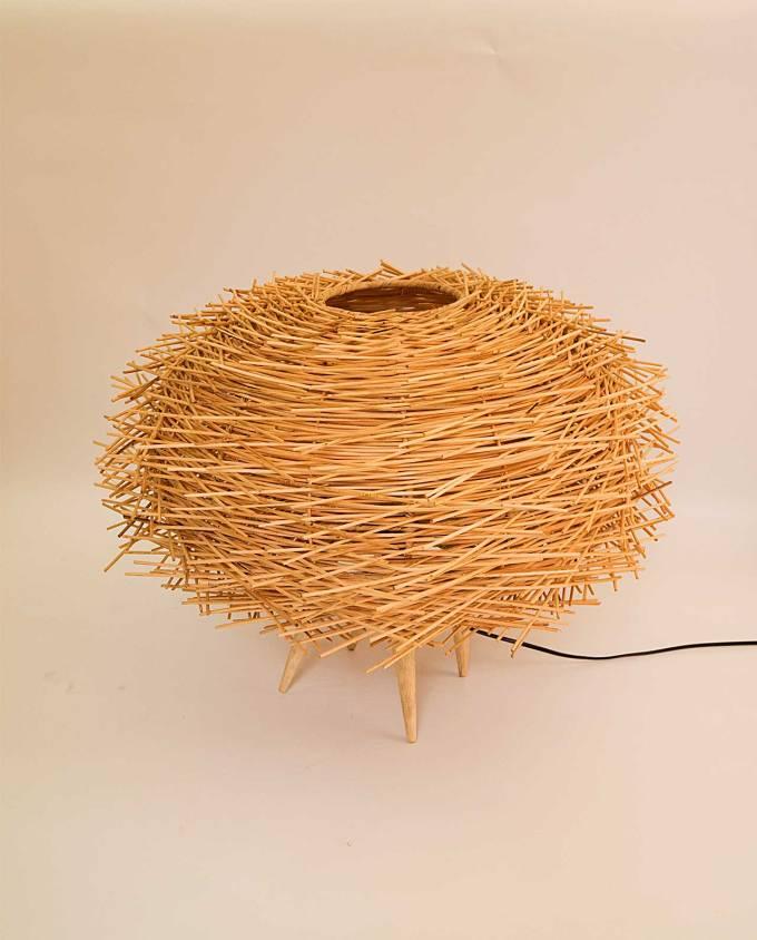 """Φωτιστικό δαπέδου Ραττάν φυσικό """"Αχινός"""" διαμέτρου 60 cm"""