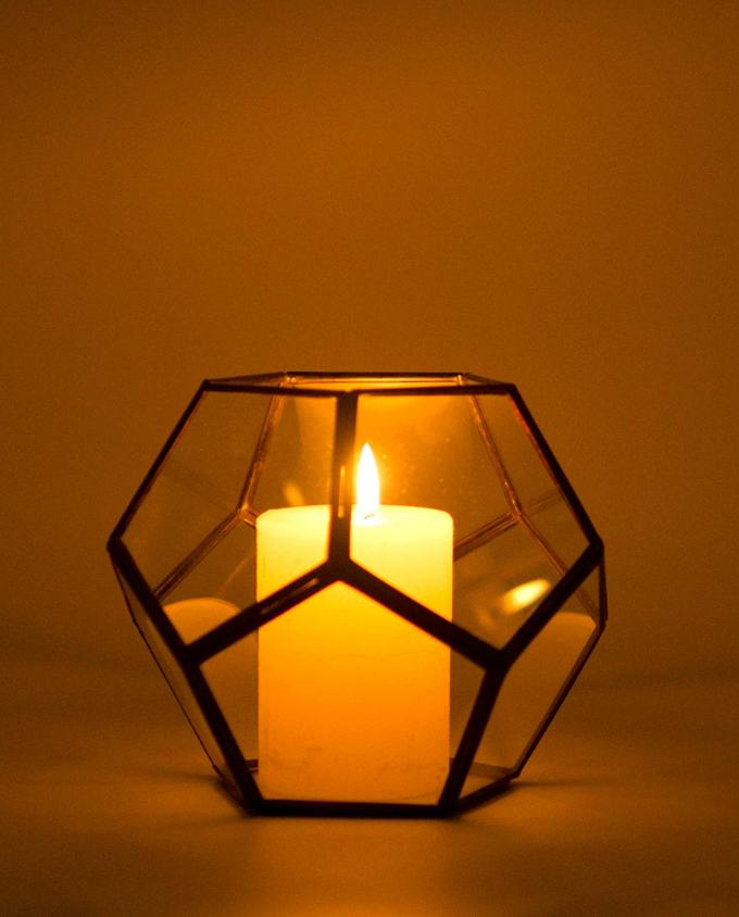 "Lantern ""Disco"" copper & glass handmade diameter 15 cm color brown"