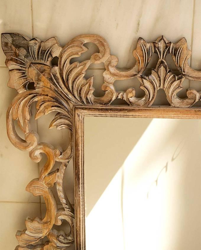 Καθρέπτης ξύλινος χειροποίητος σκαλιστός 120 cm x 80 cm