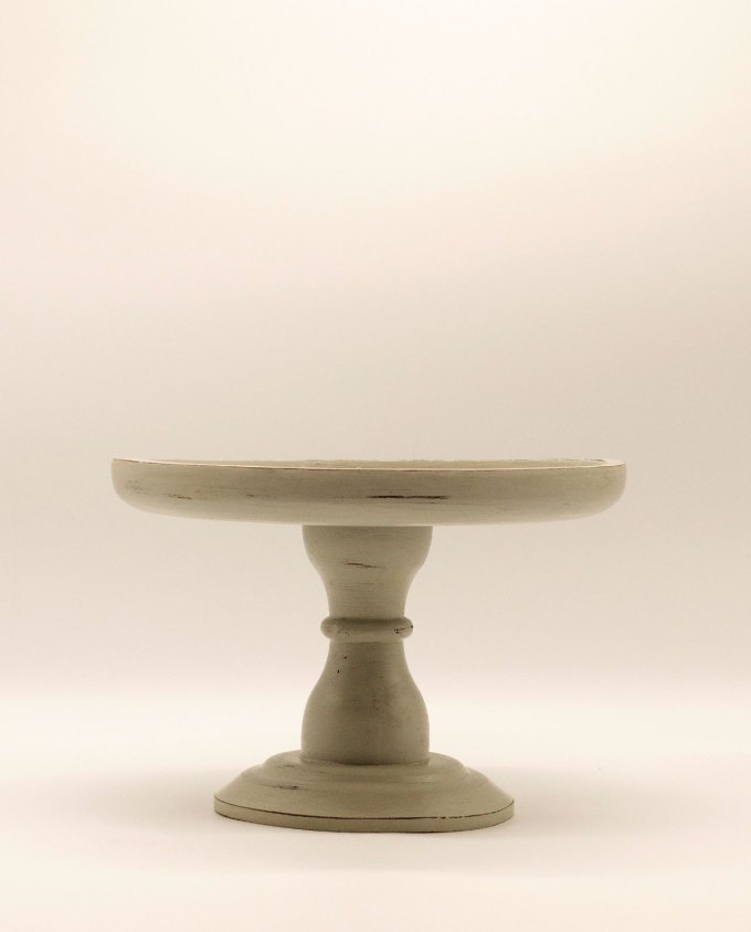 Πλατό γκρι ξύλινο με πόδι διαμέτρου 29 cm