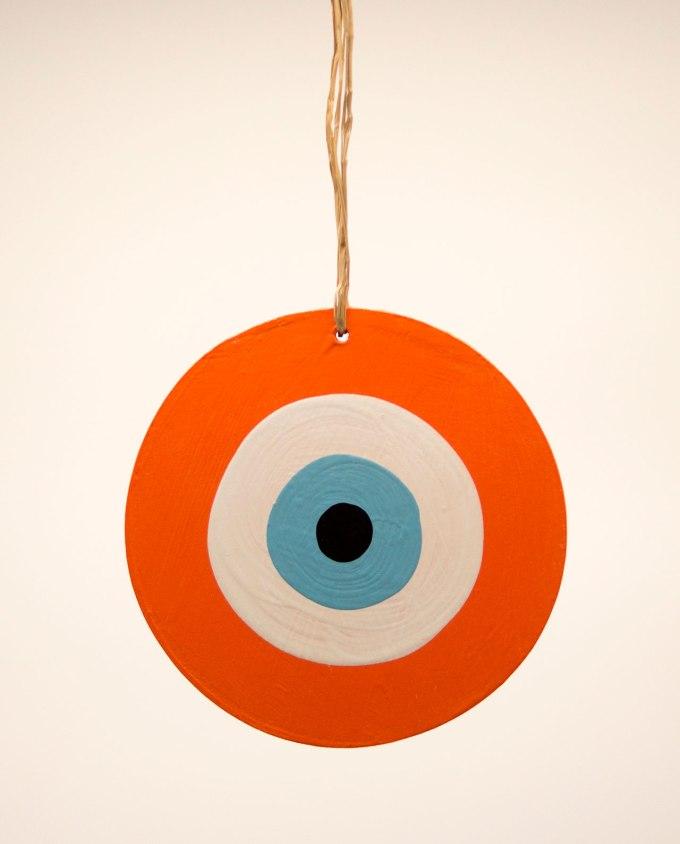 Ματάκι ξύλινο χειροποίητο πορτοκαλί διαμέτρου 13 cm