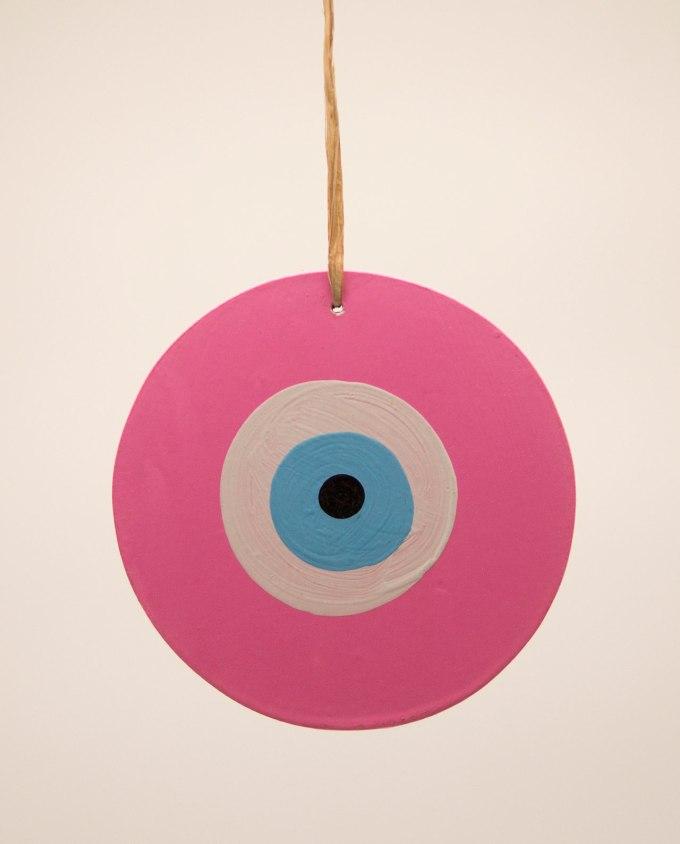 Ματάκι ξύλινο χειροποίητο ροζ διαμέτρου 13 cm