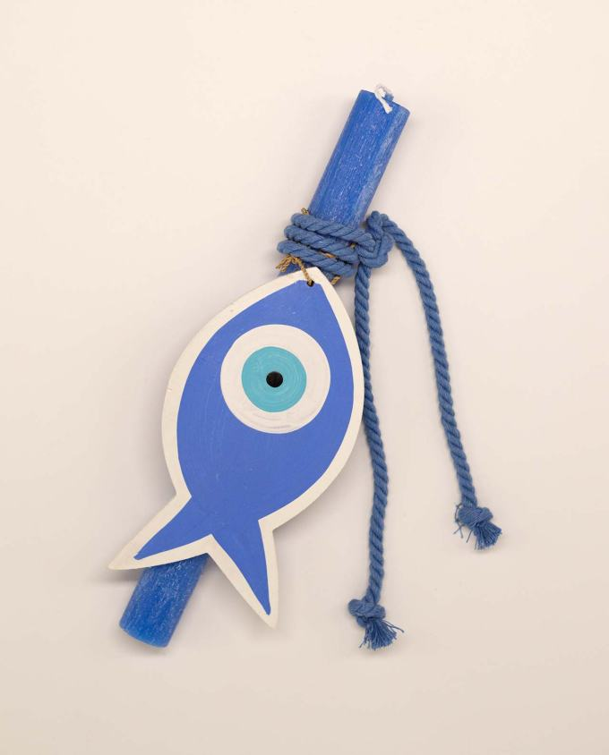 Easter candle aromatic with wooden indigo evil eye fish