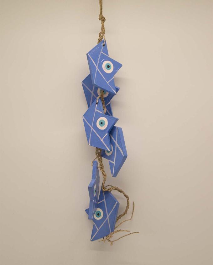Γιρλάντα με 6 καραβάκια ματάκι ξύλινα χειροποίητα λουλακί