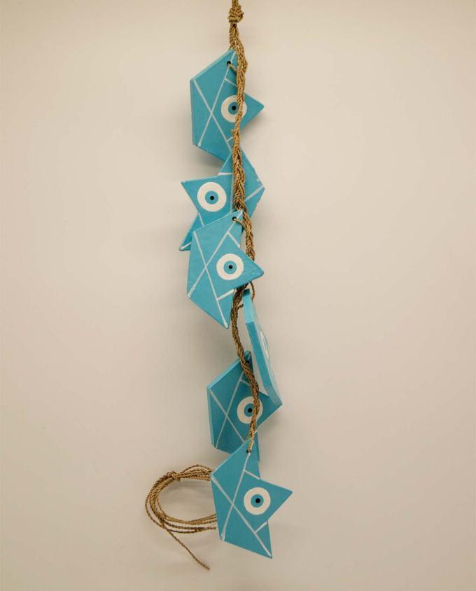 Γιρλάντα με 6 καραβάκια ματάκι ξύλινα χειροποίητα γαλάζια