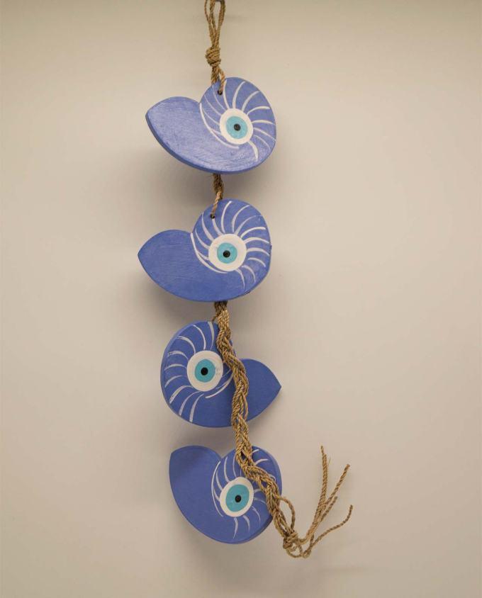 Γιρλάντα 4 κοχύλια Ναυτίλος ματάκι ξύλινα λουλακί