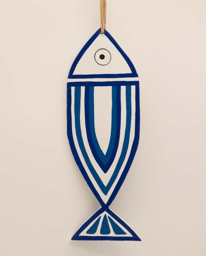 Wooden fish New Greek stripes blue