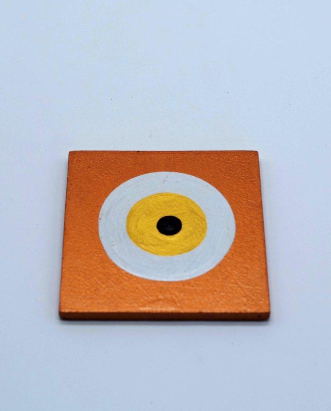 Coaster wooden evil eye gold