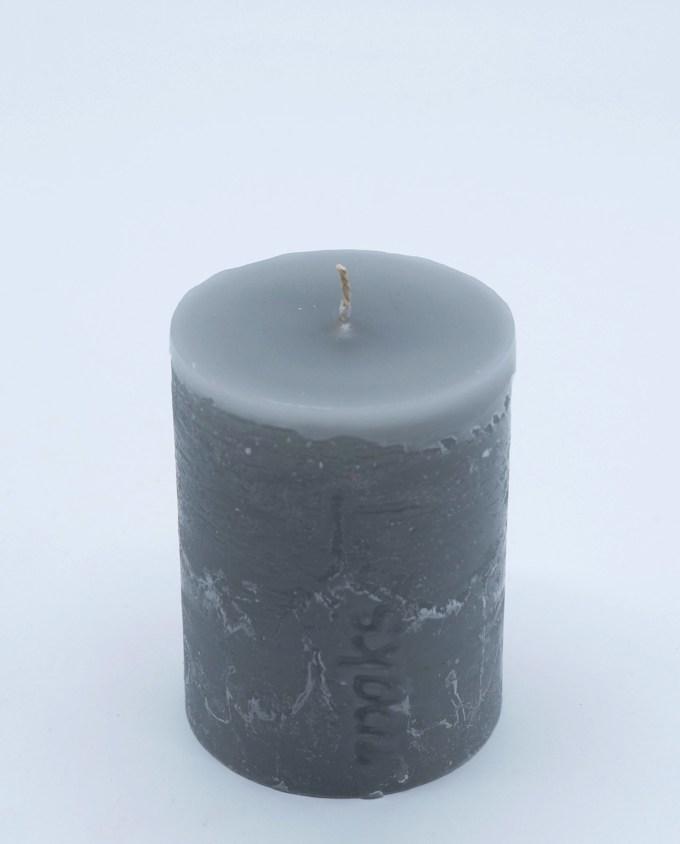 Κερί ρουστικ γκρι διάμετρος 7 cm ύψος 10 cm
