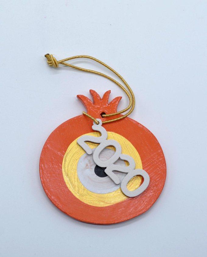Γούρι 2020 ρόδι ξύλινο πορτοκαλί χρυσό διαμέτρου 8 cm