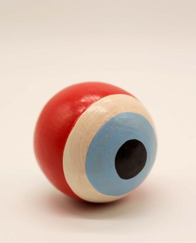 Ξύλινη χειροποίητη κόκκινη μπάλα μάτι