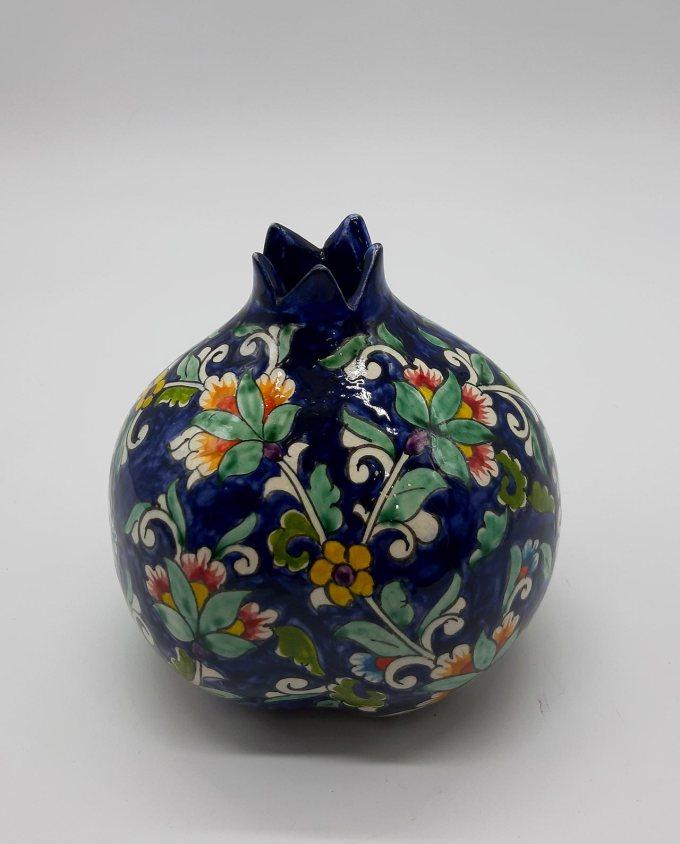 Ρόδι κεραμικό μπλε με λουλούδια διαμέτρου 12 cm