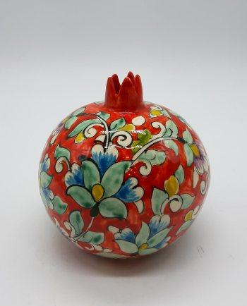 Ρόδι κεραμικό με λουλούδια ζωγραφισμένα πορτοκαλί διαμέτρου 11 cm