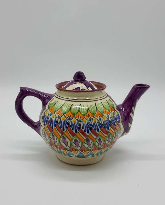 Teapot ceramic purple with patterns 1 liter
