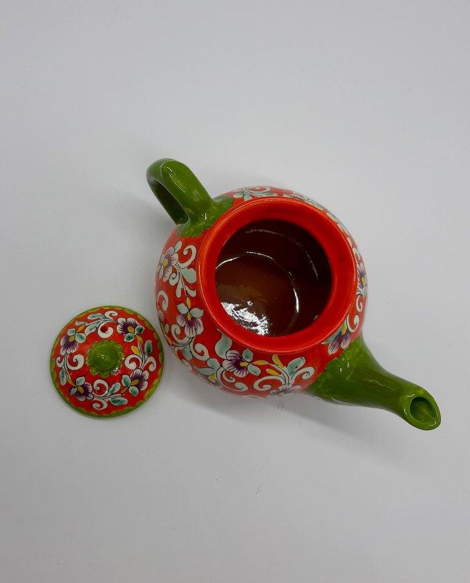 Τσαγιέρα κεραμική πορτοκαλί με λουλούδια 1 λίτρου