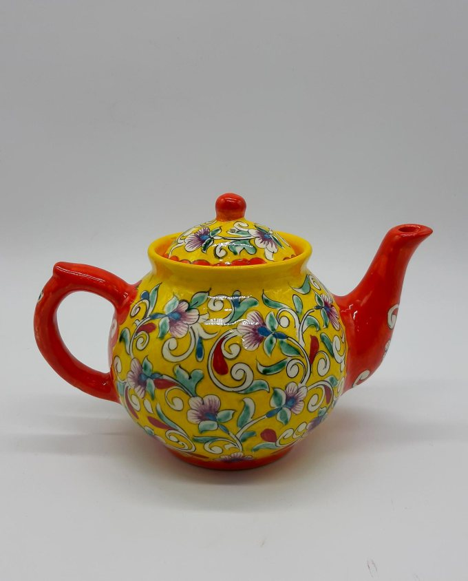 "Teapot ceramic yellow ""Flowers"" 1 liter"