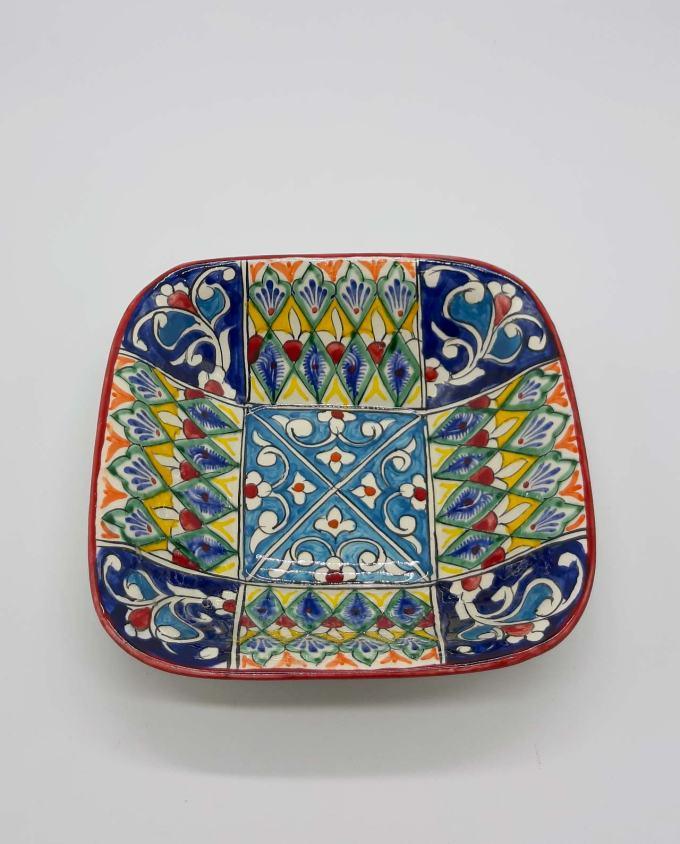 Bowl ceramic blue multi color 19 cm x 19 cm