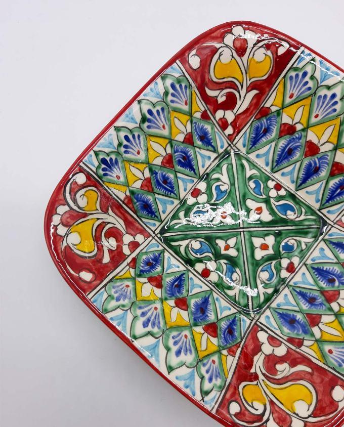 Μπωλ κεραμικό κόκκινο-πολύχρωμο 19 cm x 19 cm