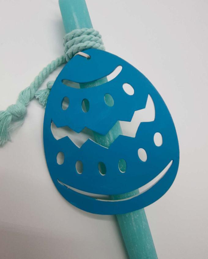 Πασχαλινή λαμπάδα με ξύλινο χειροποίητο ζωγραφισμένο αυγό
