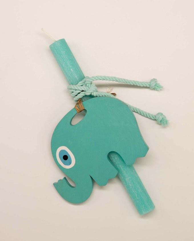 Λαμπάδα με ξύλινο χειροποίητο ελέφαντα ματάκι