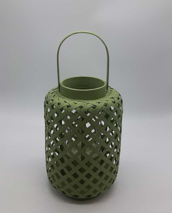 Φανάρι bamboo πράσινο ύψους 30 cm