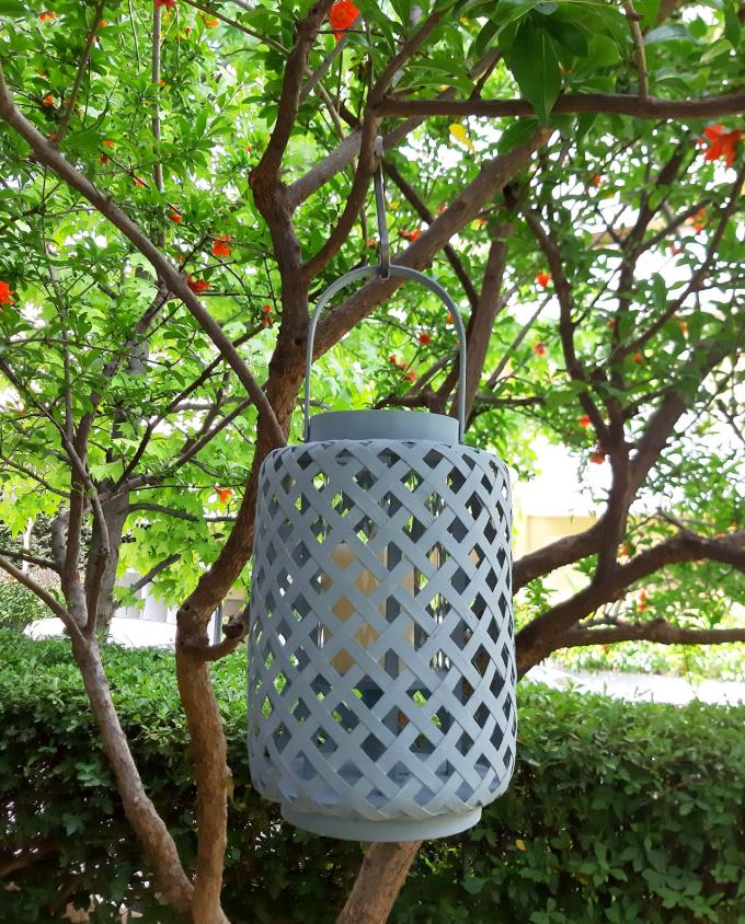 Lantern bamboo light blue height 30 cm