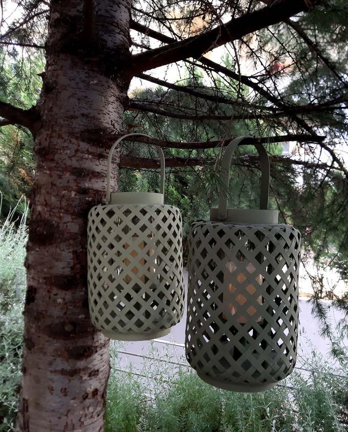 Lantern bamboo green height 30 cm