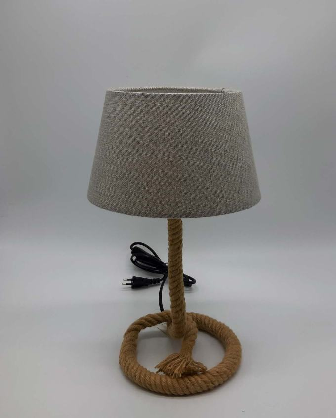 Side table beige lamp rope base