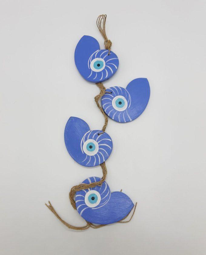 Garland 4 seashells Nautilus evil eye wooden handmade color indigo