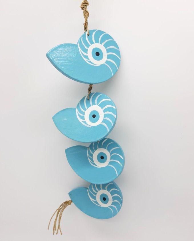 Garland 4 seashells Nautilus evil eye wooden handmade color light blue